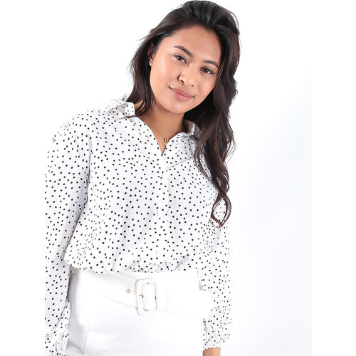 LADYLIKE FASHION Long Sleeve Polka Dotted Front Tie Blouse White