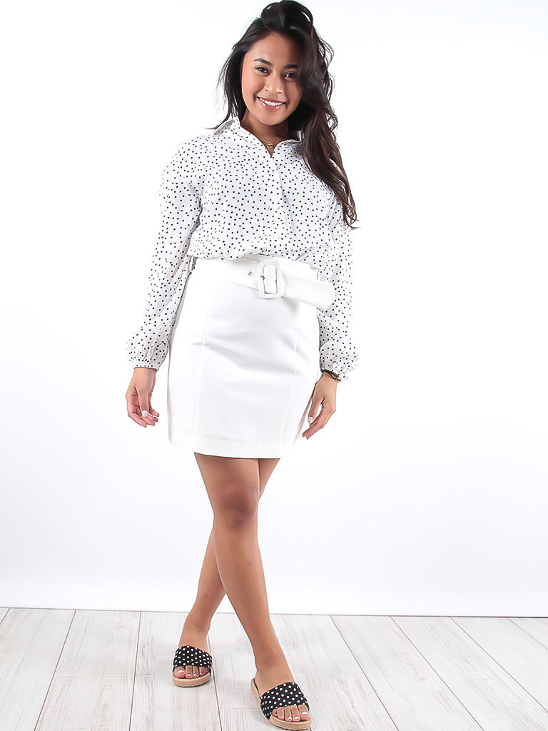 LADYLIKE FASHION White Mini Skirt With Belt