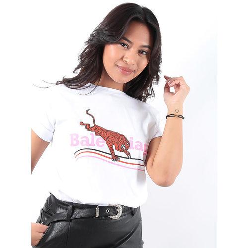 LADYLIKE FASHION White Tiger Print T-Shirt