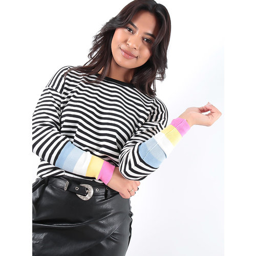 LADYLIKE FASHION Striped Jumper Colored Sleeves