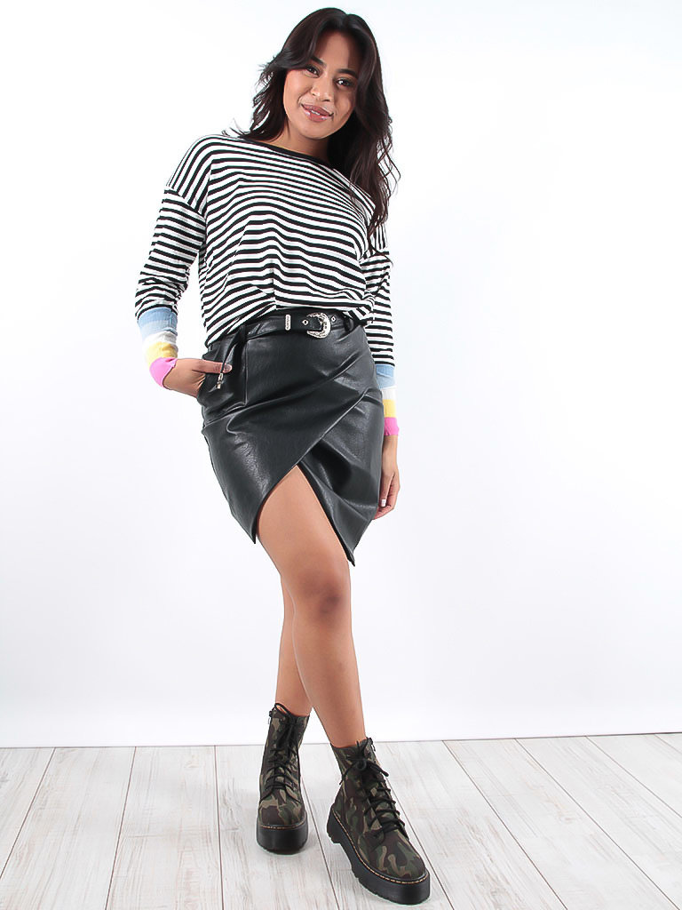 LADYLIKE FASHION Faux Leather Wrap Skirt Black