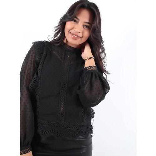 LADYLIKE FASHION Long Sleeves Black Lace Top