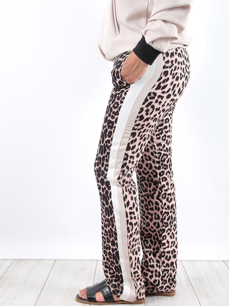 LADYLIKE FASHION Leopard Print Contrast Trousers