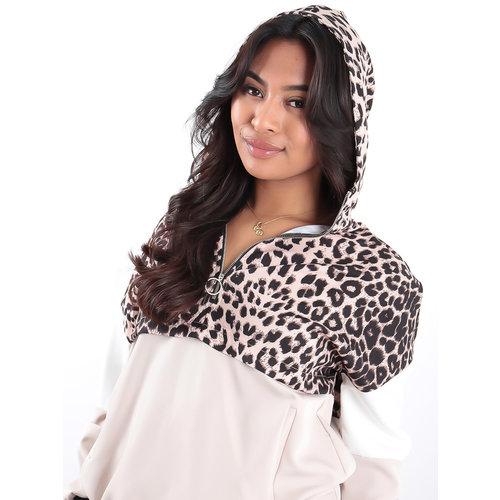 LADYLIKE FASHION Leopard Print Contrast Windbreaker Jacket