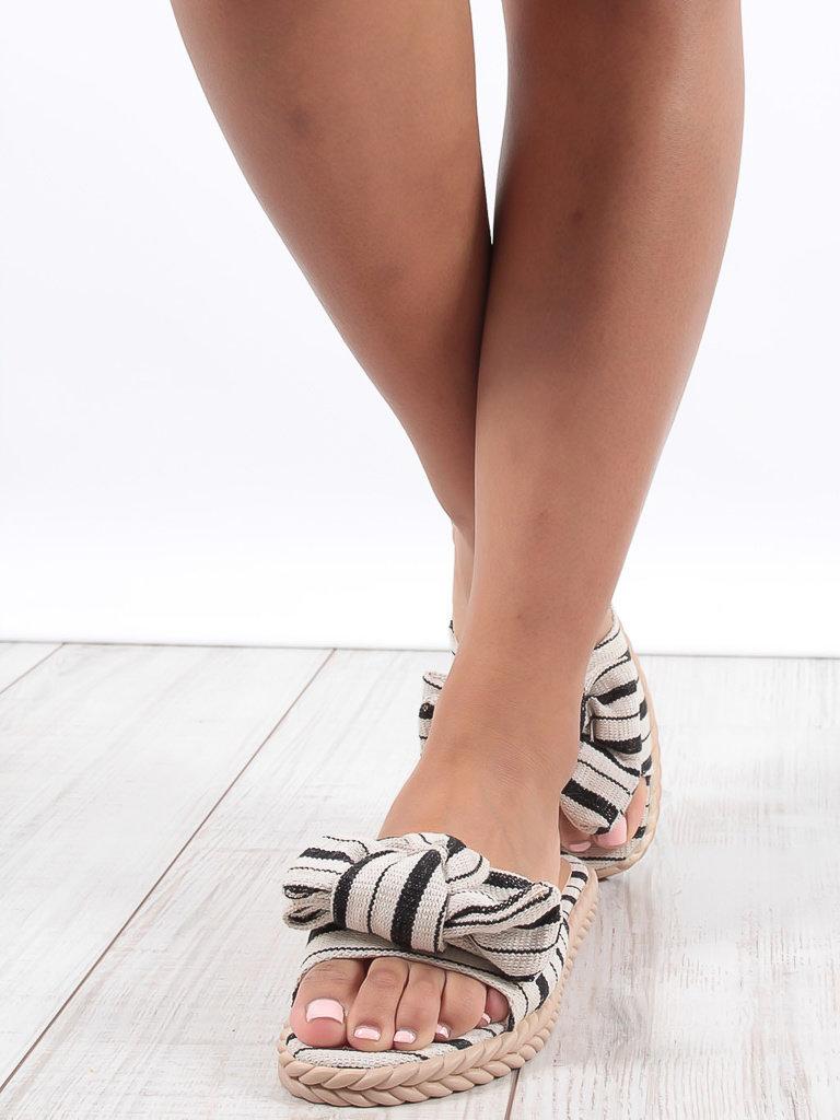 LADYLIKE FASHION Striped Slipper Black