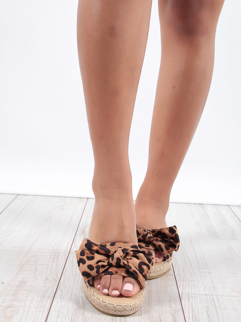 LADYLIKE FASHION Leopard Print Bow Detail Sandals