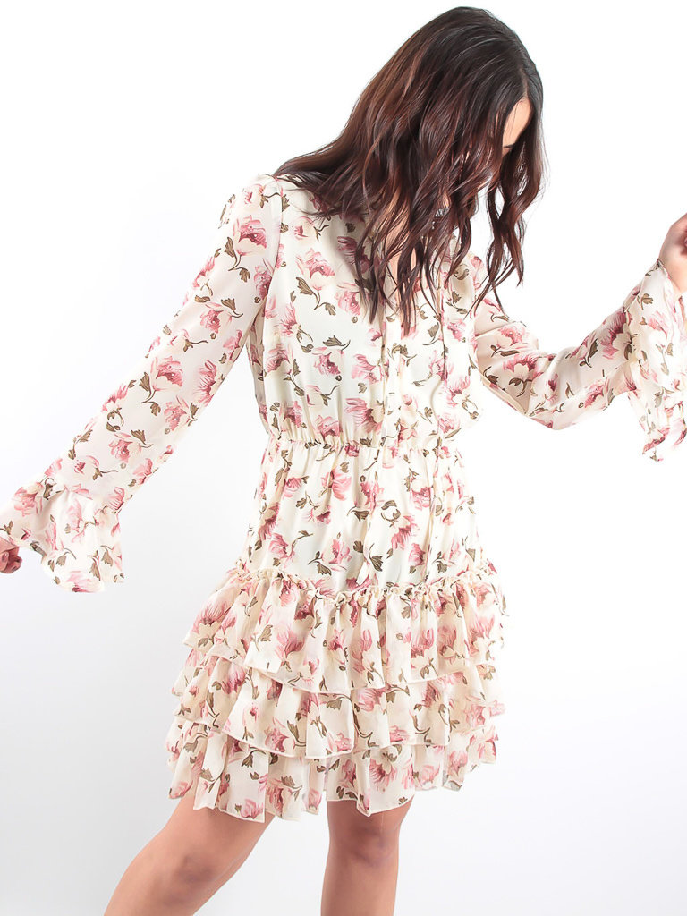 LADYLIKE FASHION Ecru Ruffled Flower Print Dress