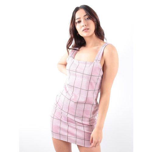 LADYLIKE FASHION Pink Check Pinafore Dress