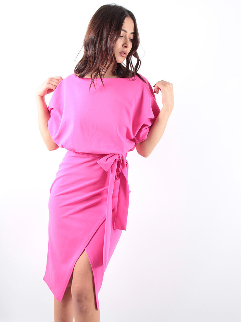LADYLIKE FASHION Wrap Front Batwing Dress Hot Pink