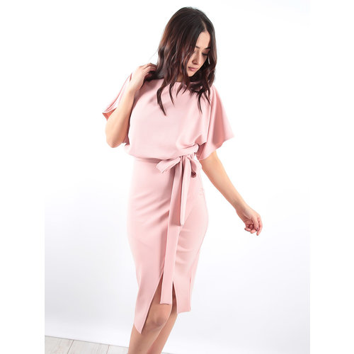 LADYLIKE FASHION Pink Wrap Front Batwing Dress