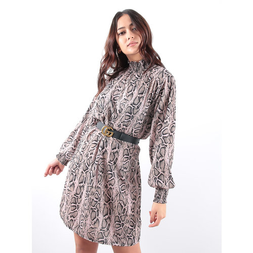 LADYLIKE FASHION Snake Print Ruche Detailing Smock Dress Pink