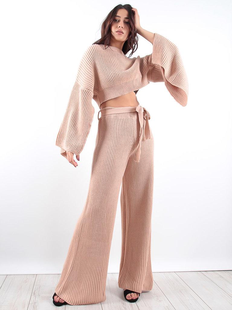 LADYLIKE FASHION Wide Pants & Sleeve Knit Co-Ord Set Peach