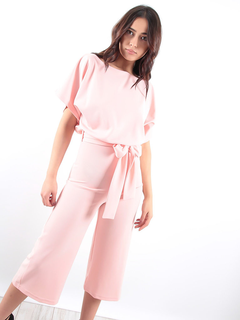LADYLIKE FASHION Pink batwing belted jumpsuit