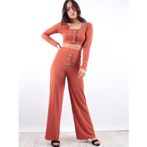 LADYLIKE FASHION Button Front Ribbed Co-ord rust