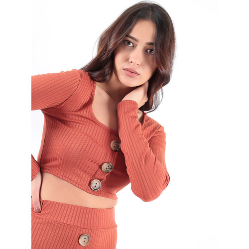 LADYLIKE FASHION Button Front Ribbed Top Rust
