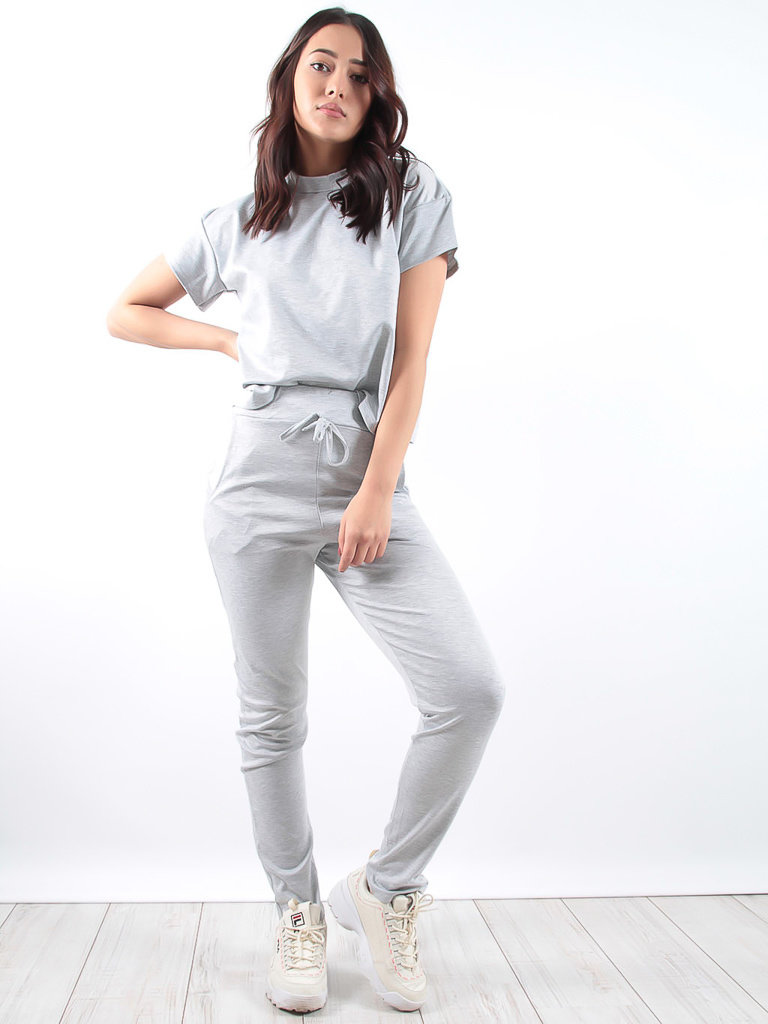 LADYLIKE FASHION Grey Short Sleeve Boxy Loungewear Set