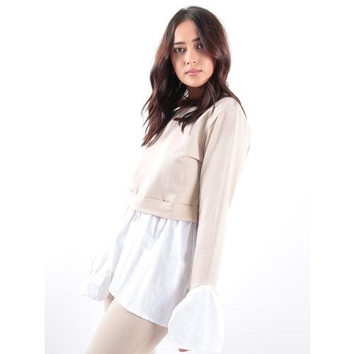 LADYLIKE FASHION Peekaboo Crop Bell Sleeves Cotton Contrast Lounge Set Beige