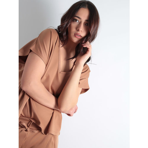 LADYLIKE FASHION Camel Short Sleeve Boxy Loungewear Set