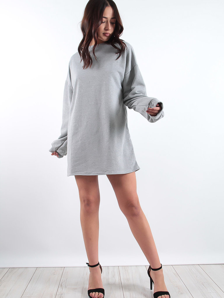 LADYLIKE FASHION Plain Oversized Basic Sweater Dress Grey