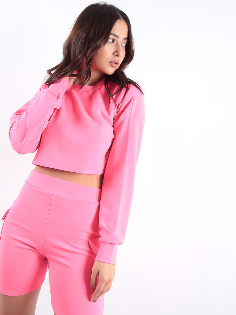 LADYLIKE FASHION Crop Top & Pocket Shorts Co-ord Neon Pink