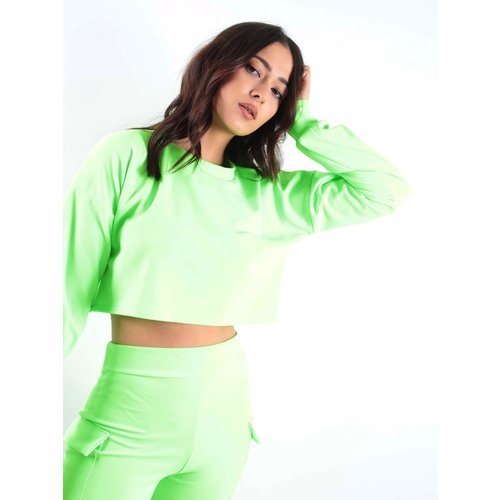 LADYLIKE FASHION Crop Top & Pocket Shorts Co-ord Neon Lime