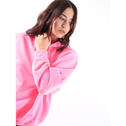 LADYLIKE FASHION Neon Pink Basic Hooded Sweater