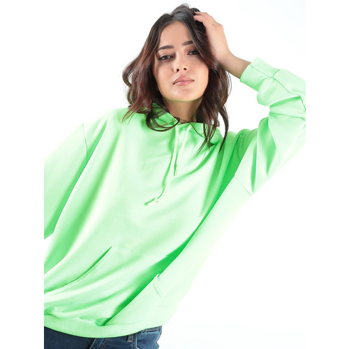 LADYLIKE FASHION Neon Lime Basic Hooded Sweater