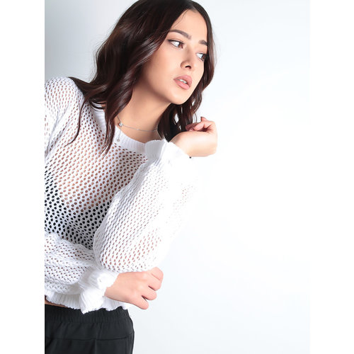 LADYLIKE FASHION Crochet Frill Crop Top Knitted