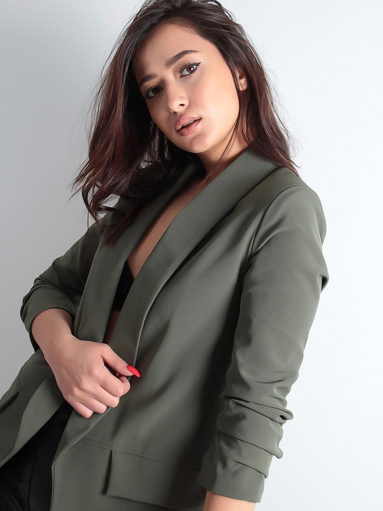 LADYLIKE FASHION Khaki Blazer With Ruffled Sleeves