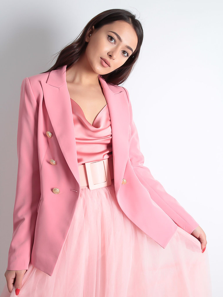 LADYLIKE FASHION Golden Button Double Breast Blazer Rose