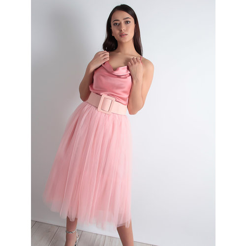 LADYLIKE FASHION Tulle Midi Skirt Rose