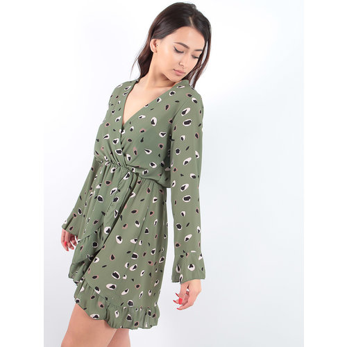 LADYLIKE FASHION Animal Print Wrap Dress Khaki