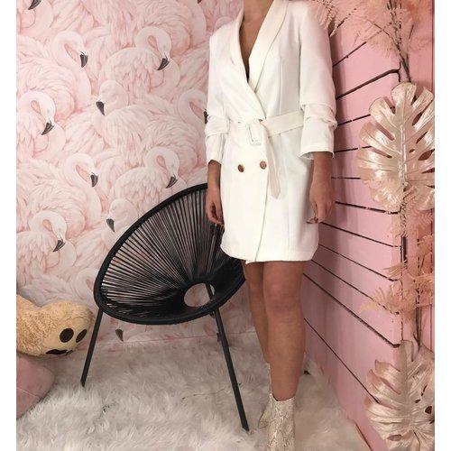LADYLIKE FASHION Belted Blazer Dress White