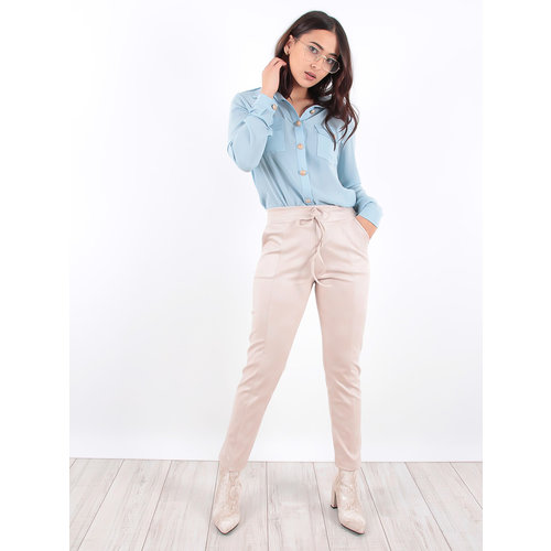 LADYLIKE FASHION Beige Suedine Trousers