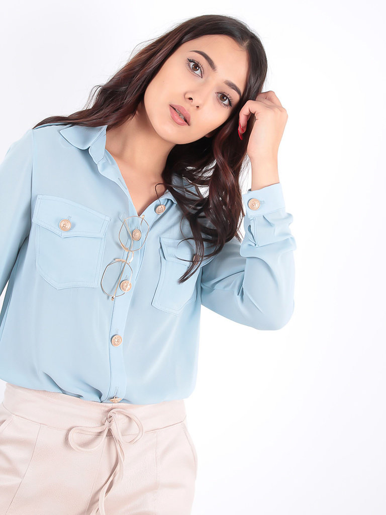 LADYLIKE FASHION Light Blue Blouse Gold Buttons
