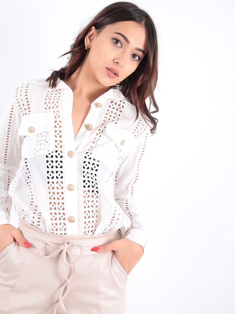LADYLIKE FASHION White Broderie Blouse