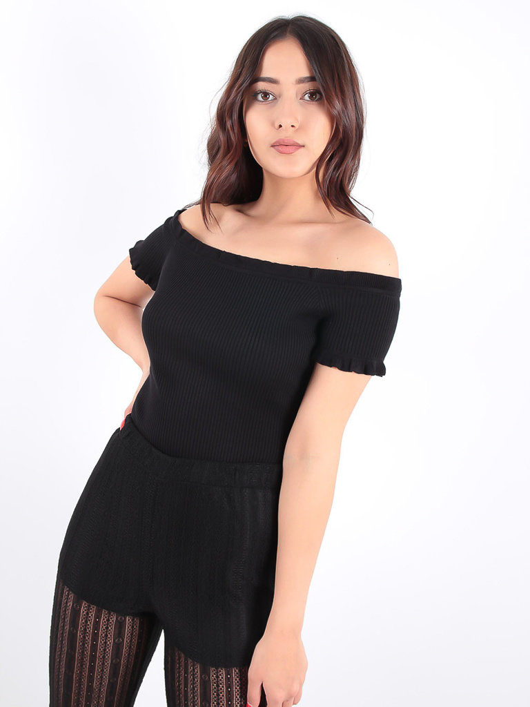 LADYLIKE FASHION Black Ribbed Bardot Bodysuit