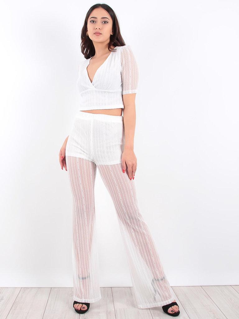 LADYLIKE FASHION White Sheer Flared Festival Trousers