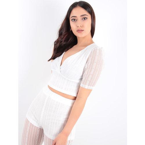 LADYLIKE FASHION White Sheer Short Sleeve Crop Top