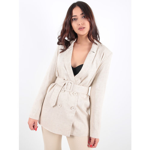 LADYLIKE FASHION Beige Linnen Belted Double Breasted Blazer