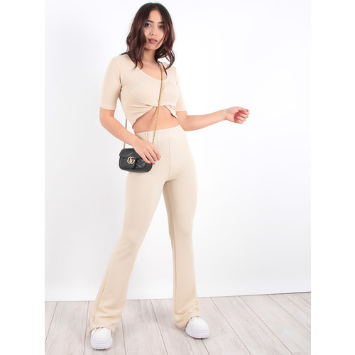 LADYLIKE FASHION Beige Ribbed Knit Flared Trousers