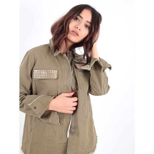 LADYLIKE FASHION Khaki Jacket Gold Detailed Pockets