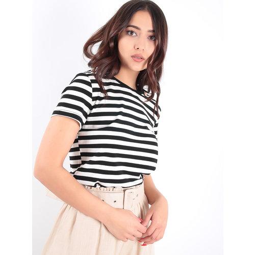 LADYLIKE FASHION Black Striped T-Shirt Gold Button