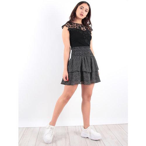 LADYLIKE FASHION Black Ruffled Dot Skirt