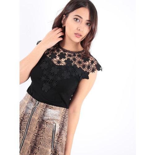 LADYLIKE FASHION Black Lace Shirt
