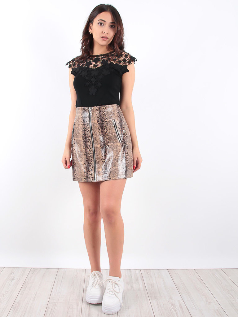 LADYLIKE FASHION Brown Faux Snake Skin Skirt With Zip Detail