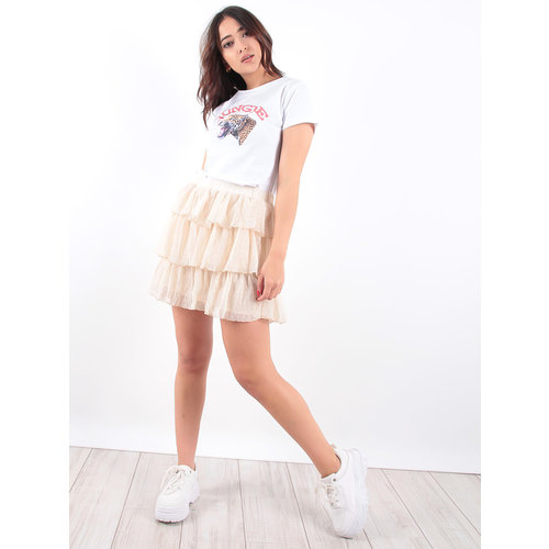LADYLIKE FASHION Beige Linnen Look Ruffled Skirt