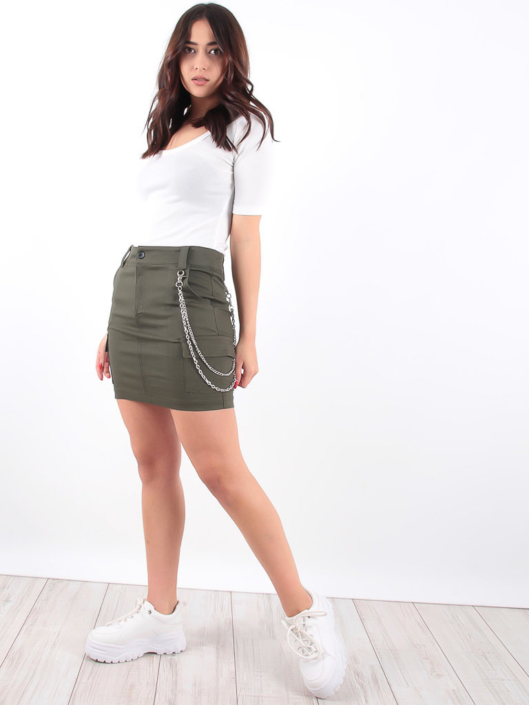 LADYLIKE FASHION Khaki Chain Utility Mini Skirt