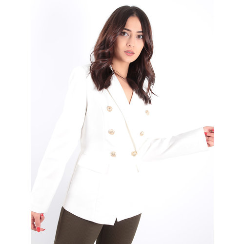 LADYLIKE FASHION Golden Button Double Breast Blazer White