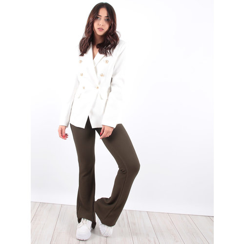 LADYLIKE FASHION Green Ribbed Knit Flared Trousers